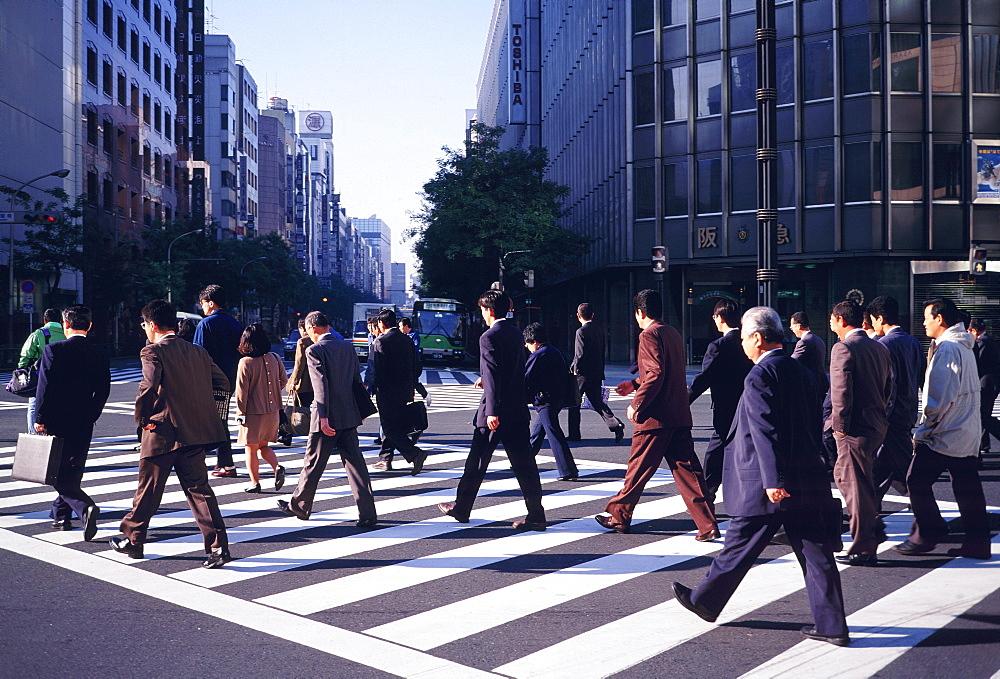 Pedestrian crossing, Ginza District, Tokyo, Japan