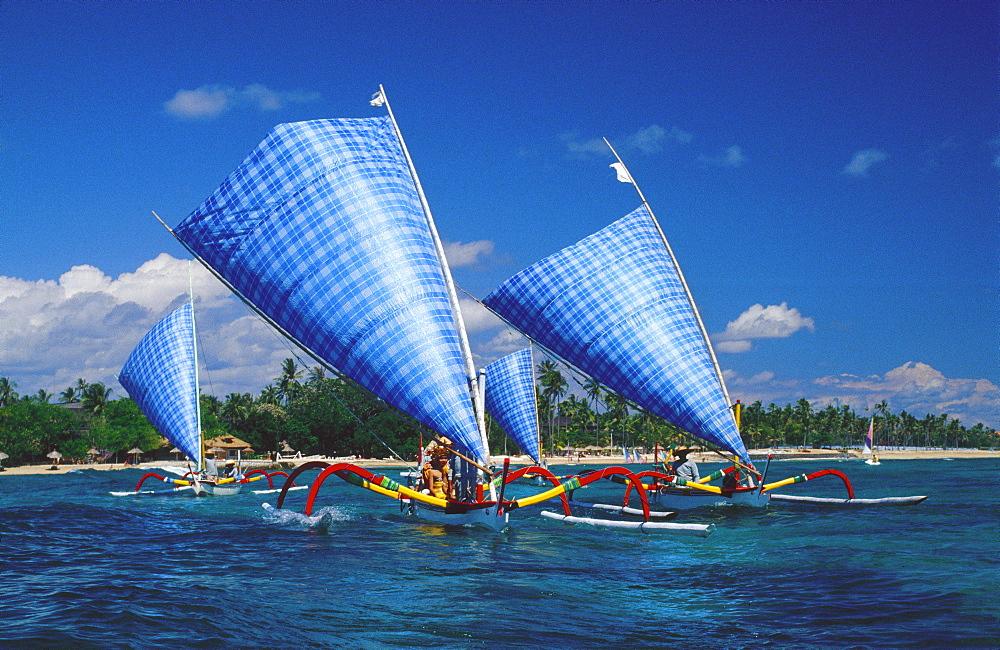 Modern fishing boats, Bali, Indonesia, Asia