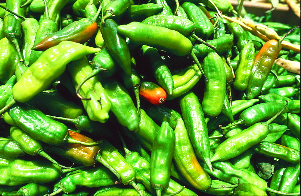 Close-up of green peppers for sale in market, Reunion Island, Indian Ocean, Africa