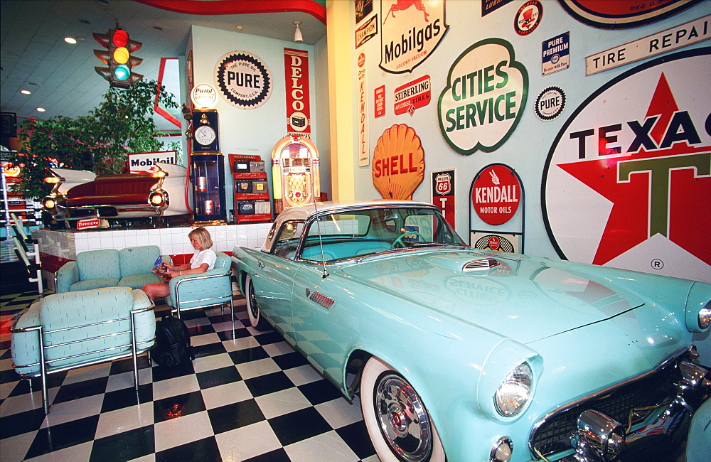 Classic car in the lobby of the Desert Land Hotel, Ocean Drive, Miami Beach (South Beach), Miami, Florida, USA
