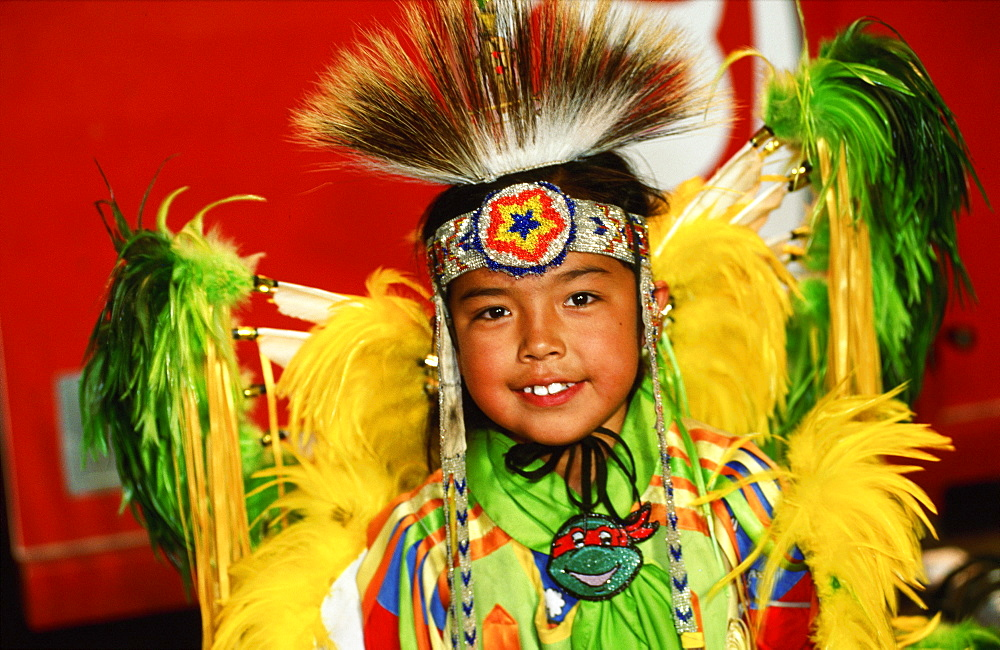 Navajo child in traditional dress, Chinle
