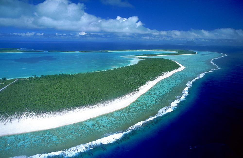 Aerial view over Bora Bora and Tupai, French Polynesia, Pacific Islands