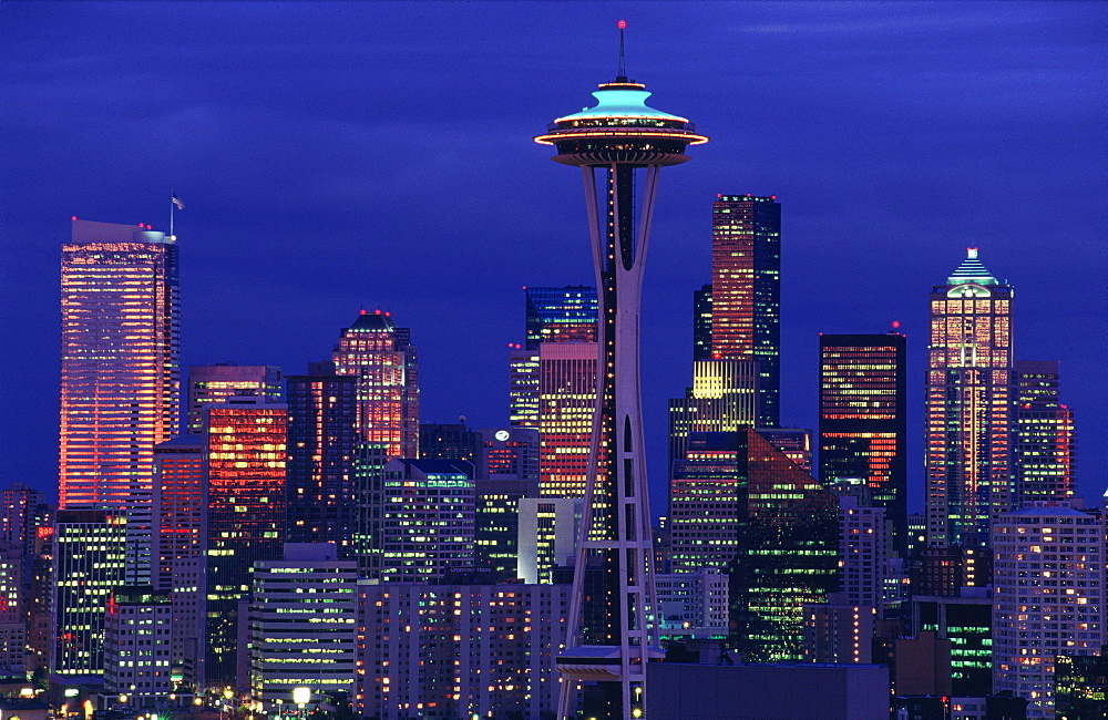 The Space Needle and Seattle skyline at night, Washington State, USA