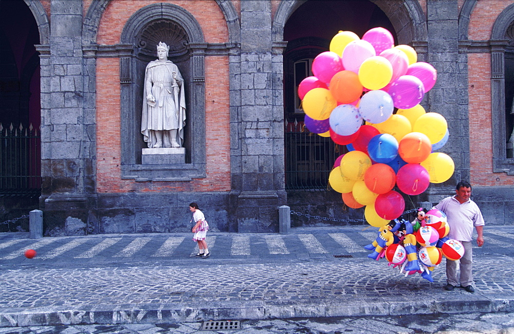 Royal Palace facade with balloon seller outside