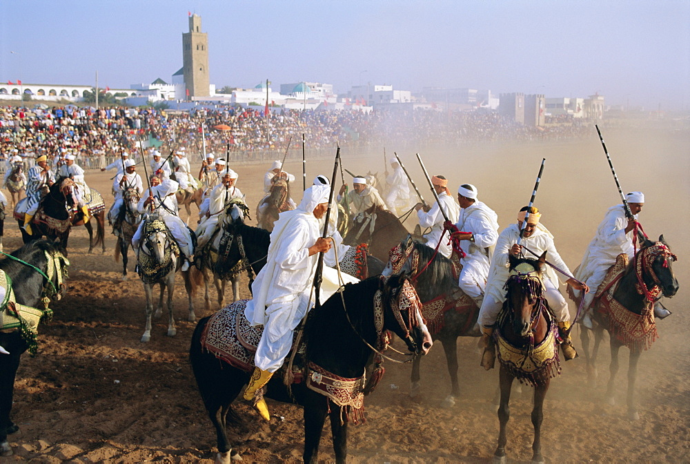 Fantasia for the moussem (festival) of Moulay Abdallah, El Jadida, Morocco, Africa