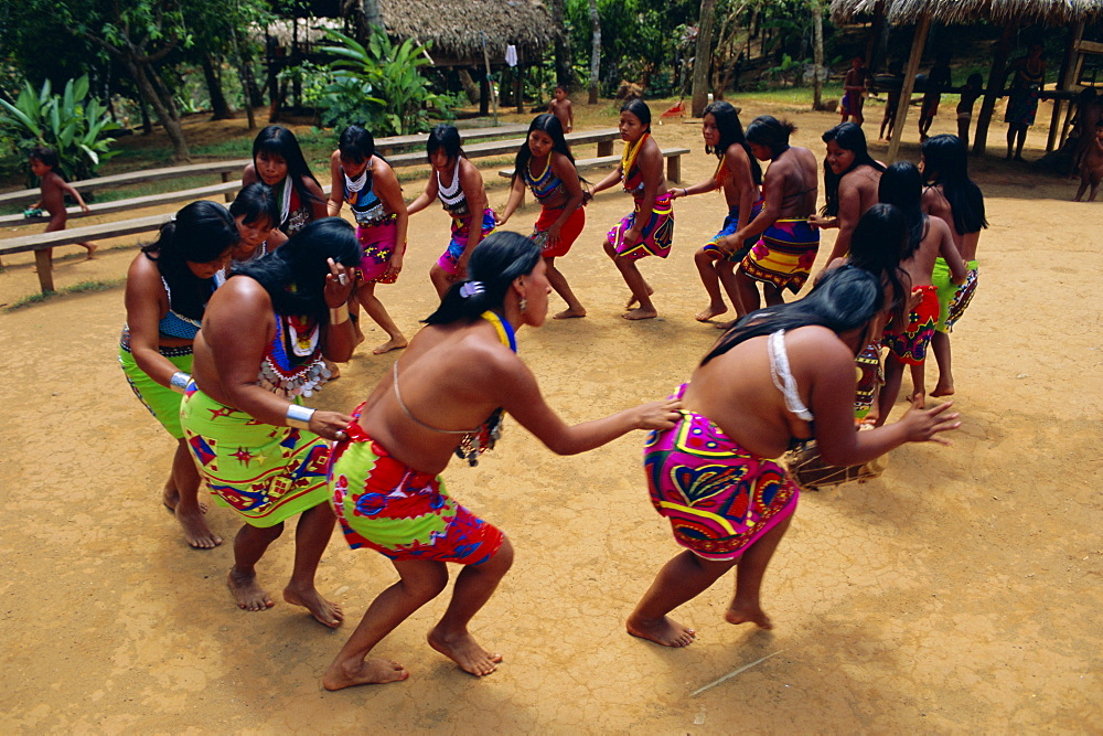Embera Indians dancing, Chagres National Park, Panama, Central America - 712-1520
