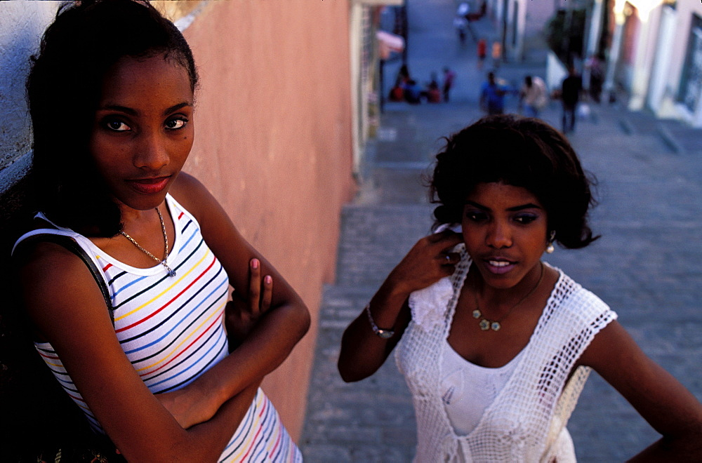 Young girls, Tivoli district, Santiago de Cuba, Cuba, Central America