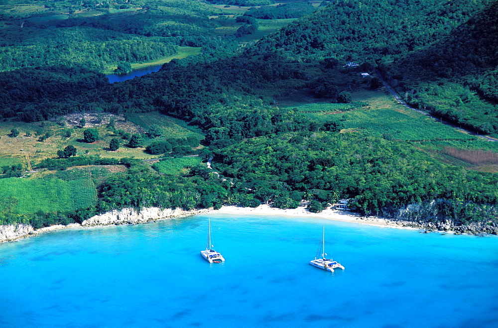 Aerial view, Anse Canot beach, Marie Galante island, Guadeloupe, Caribbean, Central America
