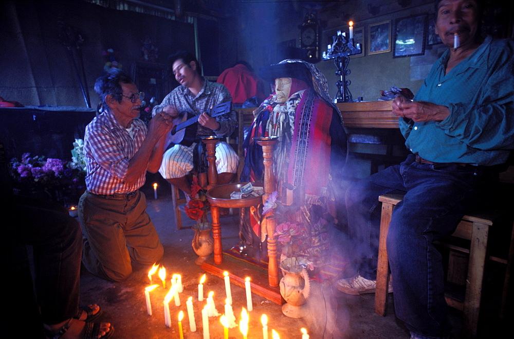Maximon cult, Santiago Atitlan, Lake Atitlan, Guatemala, Central America