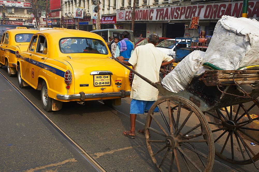 Rickshaw on the street, Kolkata, West Bengal, India, Asia - 712-2284