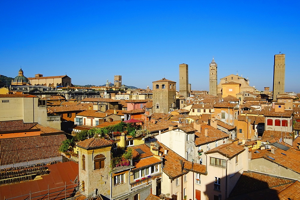 Cityscape with the towers of the town, Bologna, Emilia-Romagna, Italy, Europe