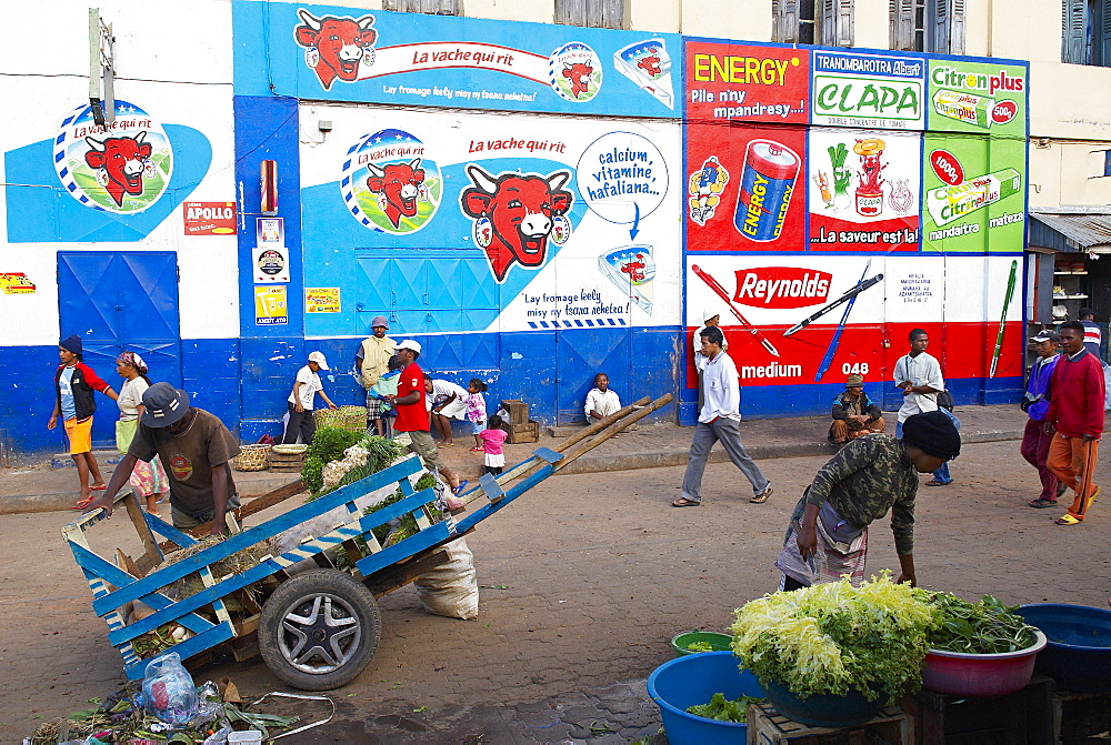 Wall painting advertising, Low City, Antananarivo (Tananarive), Madagascar, Africa