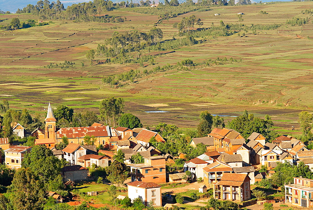 Traditional village on hill around Antsirabe, Madagascar, Africa
