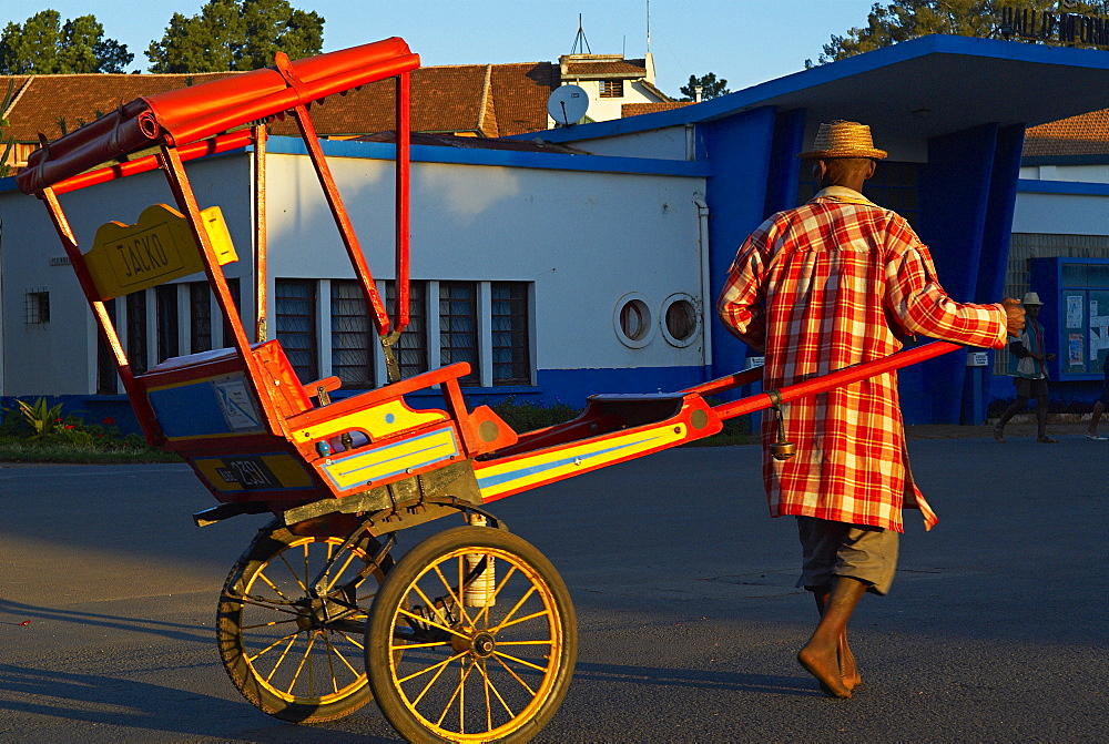 Pousse-pousse, the local taxi, Antsirabe, Madagascar, Africa
