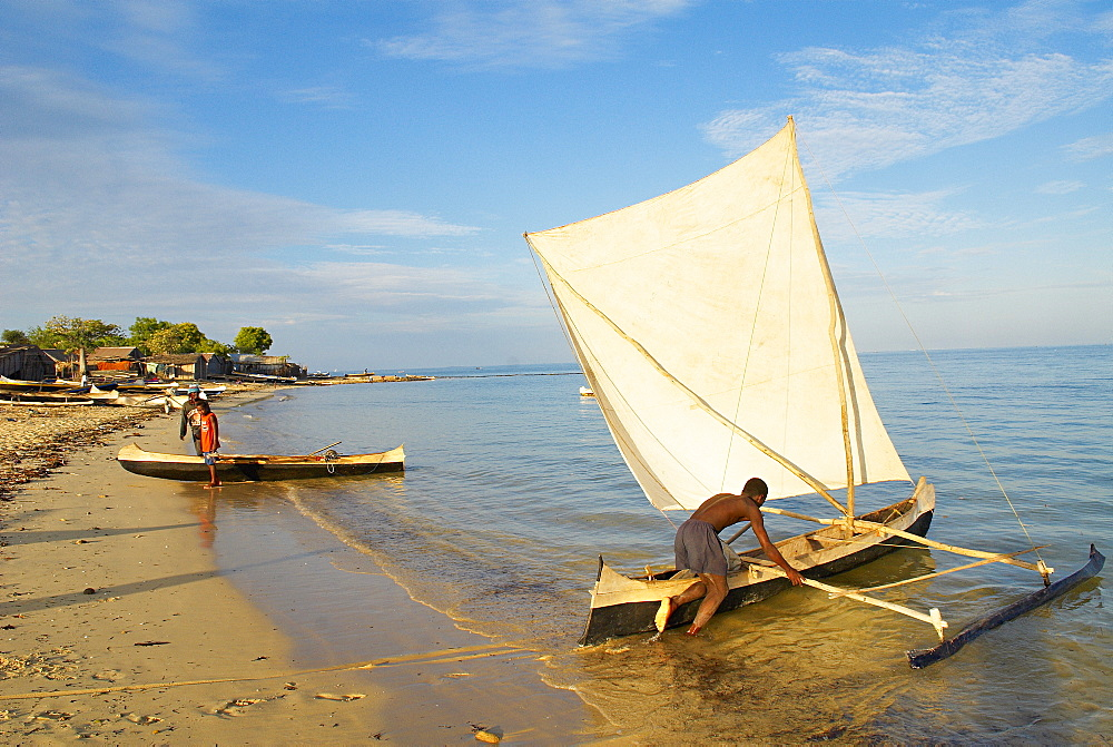 Fishing village of Vezo ethnic group, around Tulear, Ifaty, Madagascar, Indian Ocean, Africa