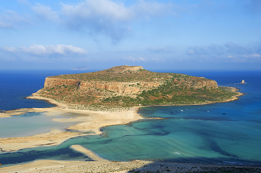 Balos Bay and Gramvousa island, Gramvousa, Chania, Crete, Greek Islands, Greece, Europe