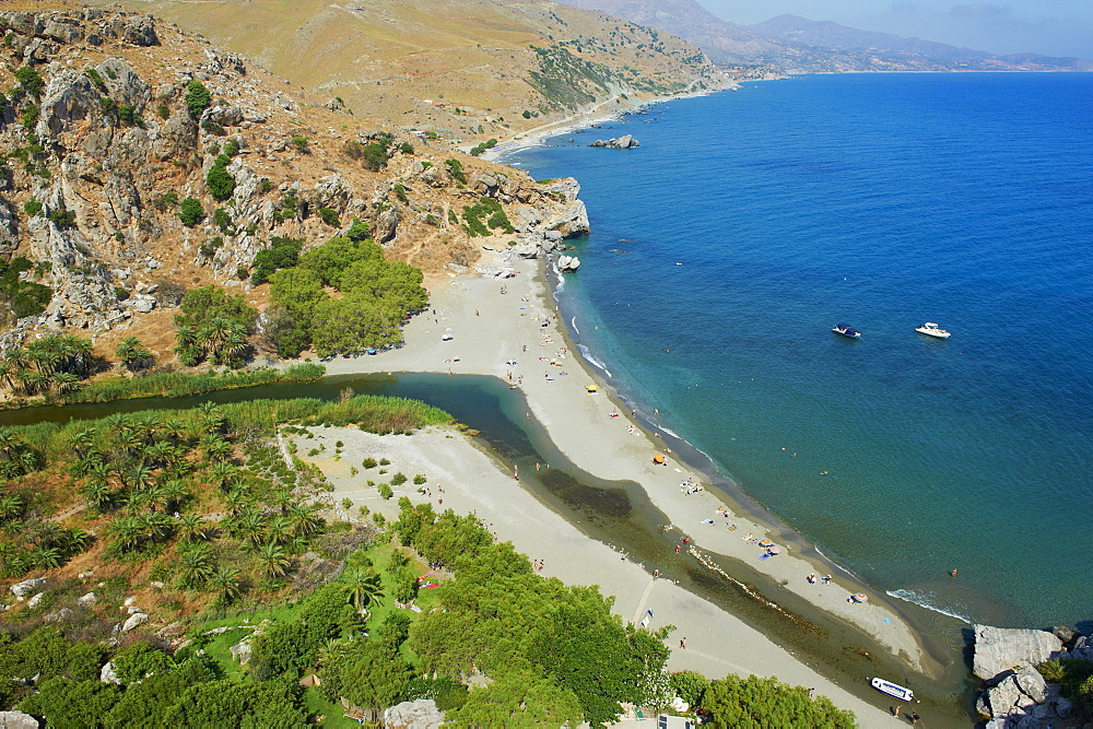 Preveli Beach, Rethymnon province, Crete, Greek Islands, Greece, Europe