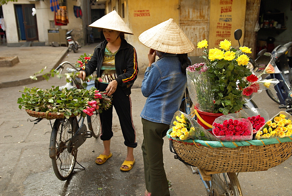 Flowers seller, Hanoi, Vietnam, Indochina, Southeast Asia, Asia
