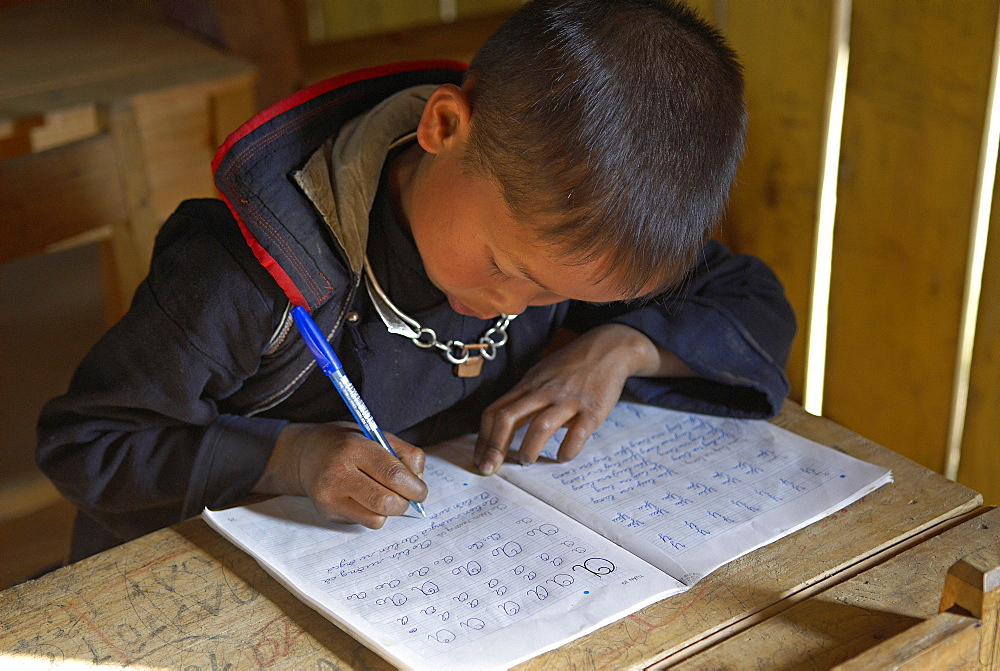 Black Hmong ethnic group boy at school, Sapa area, Vietnam, Indochina, Southeast Asia, Asia