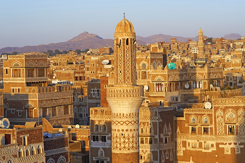 Elevated view of the Old City of Sanaa, UNESCO World Heritage Site, Yemen, Middle East