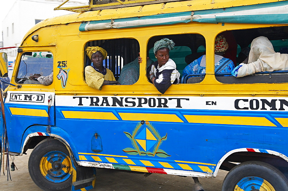 Local bus, city of Saint Louis, UNESCO World Heritage Site, Senegal, West Africa, Africa