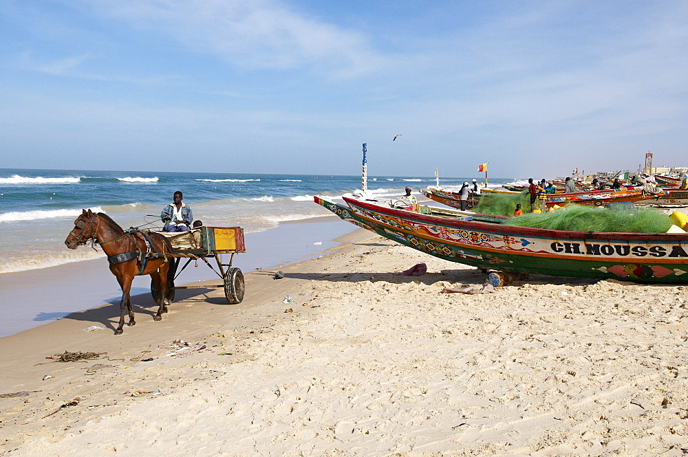Fishing boats on the beach, city of Saint Louis, Senegal, West Africa, Africa