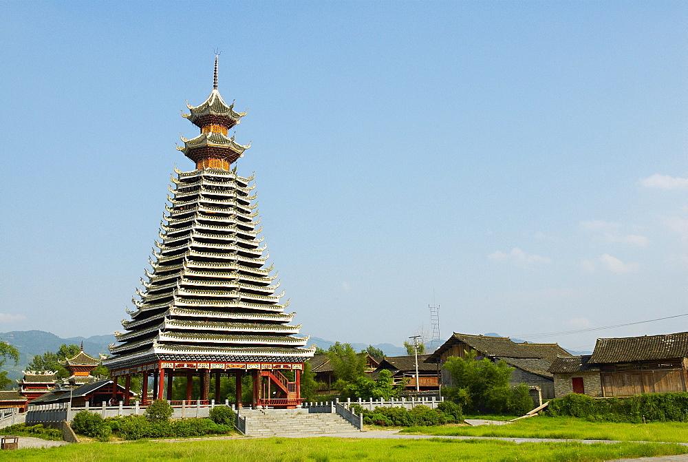 Drum Tower at Rongjiang, Guizhou Province, China, Asia  - 712-2613