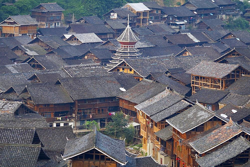 Drum Tower at Rongjiang, Guizhou Province, China, Asia  - 712-2618