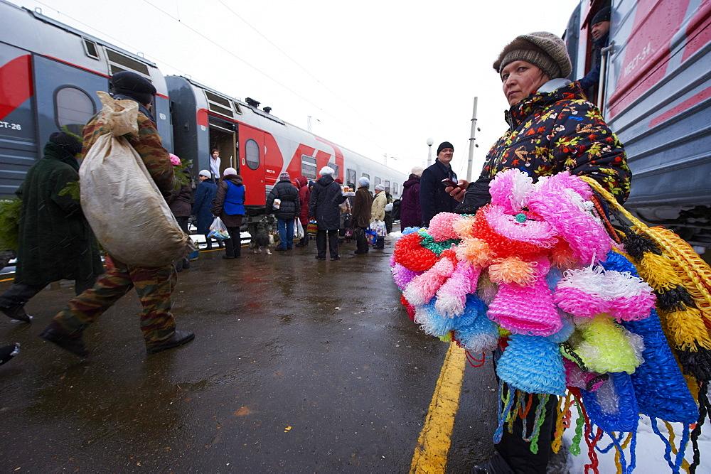 Railway station on the Trans-Siberian line, Balezino, Udmurtia, Russia, Europe - 712-2642