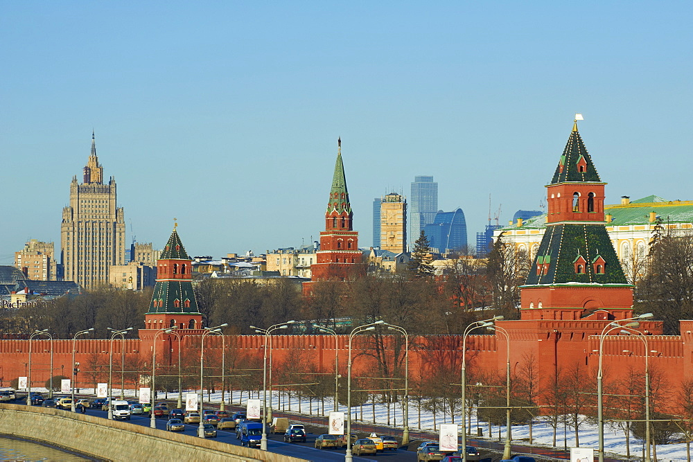 The Kremlin Wall and the business center, Moscow, Russia, Europe