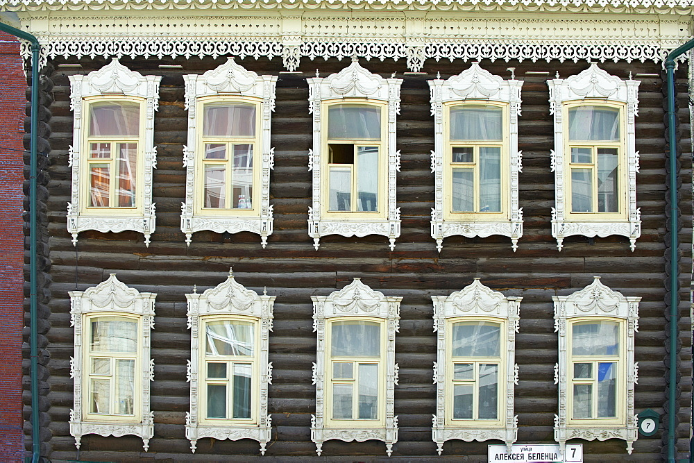 Wooden architecture, Tomsk, Tomsk Federation, Siberia, Russia, Eurasia  - 712-2658