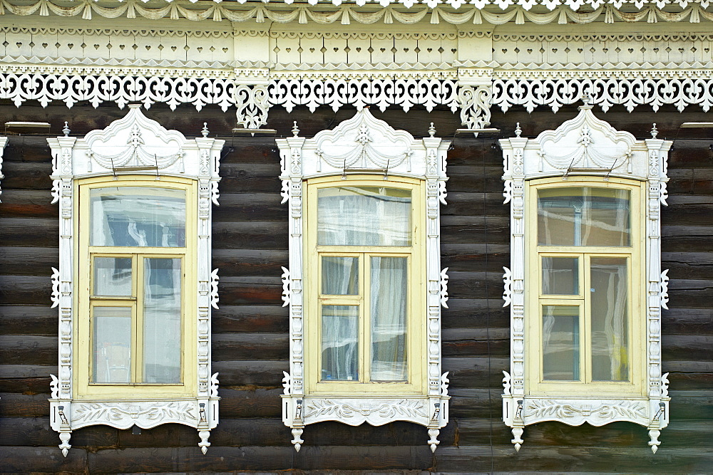 Wooden architecture, Tomsk, Tomsk Federation, Siberia, Russia, Eurasia  - 712-2659
