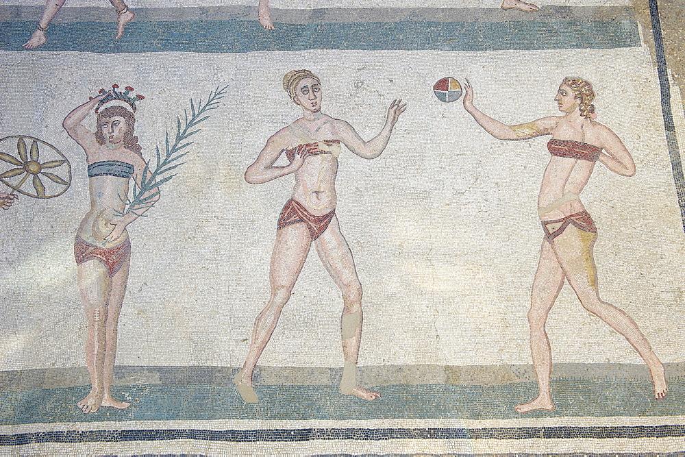Mosaic of girls in bikinis, Villa Romana del Casale, Piazza Armerina, UNESCO World Heritage Site, Sicily, Italy, Europe  - 712-2698