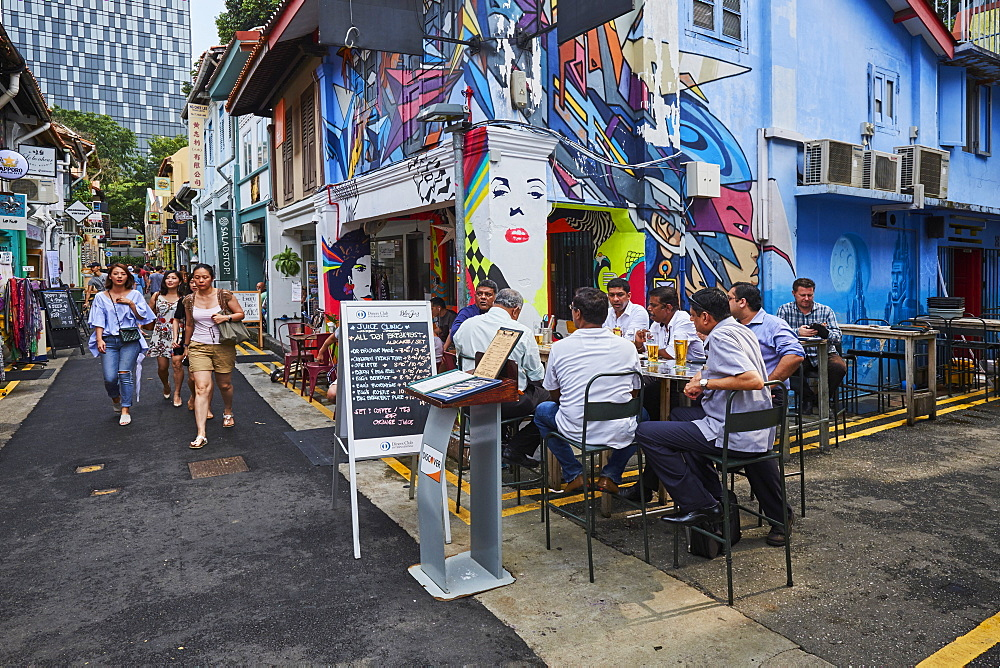 Kampong Glma district, bar and wall painting, Singapore, Southeast Asia, Asia