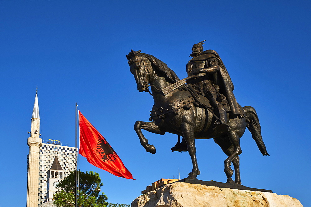 Albania, Tirana, Skanderbeg square and statue
