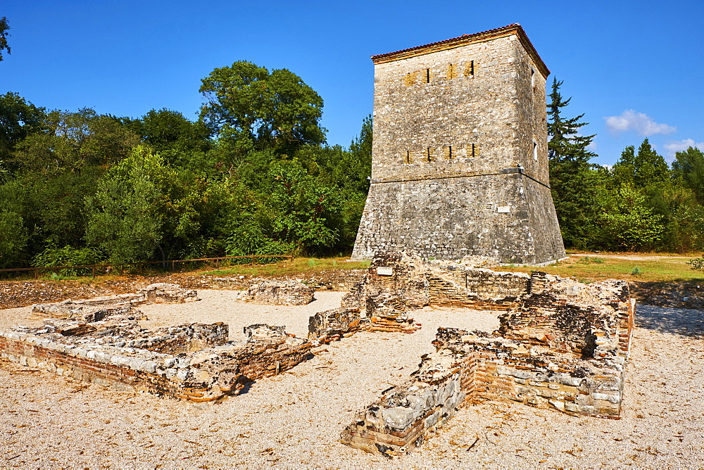 Albania, Vlore province, Butrint, Ruins of the greek city, UNESCO World Heritage Site, Venetian tower