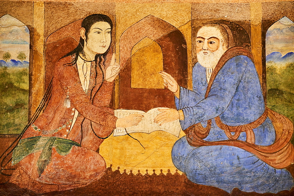 Safavid era painting, Chehel Sotun Palace, Isfahan, Iran, Middle East