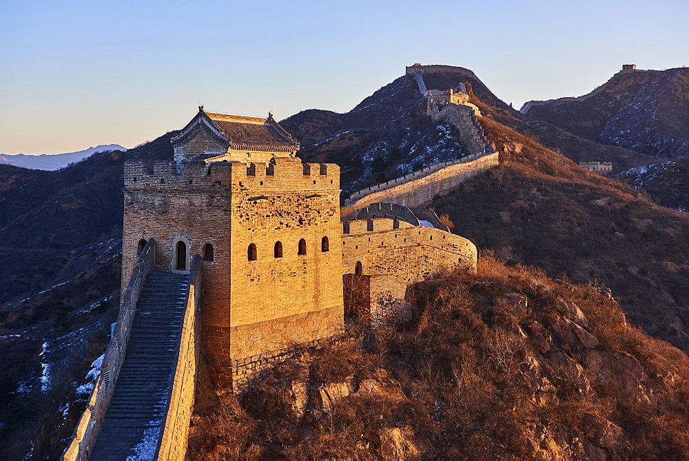 Sunlit tower of the Jinshanling and Simatai sections of the Great Wall of China, Unesco World Heritage Site, China, East Asia