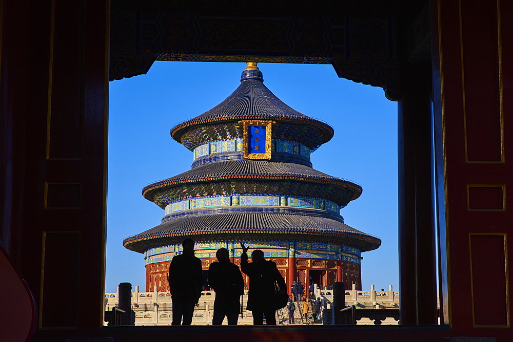 Tourists in silhouette at the Temple of Heaven, Unesco world heritage, Dongcheng, Beijing, China