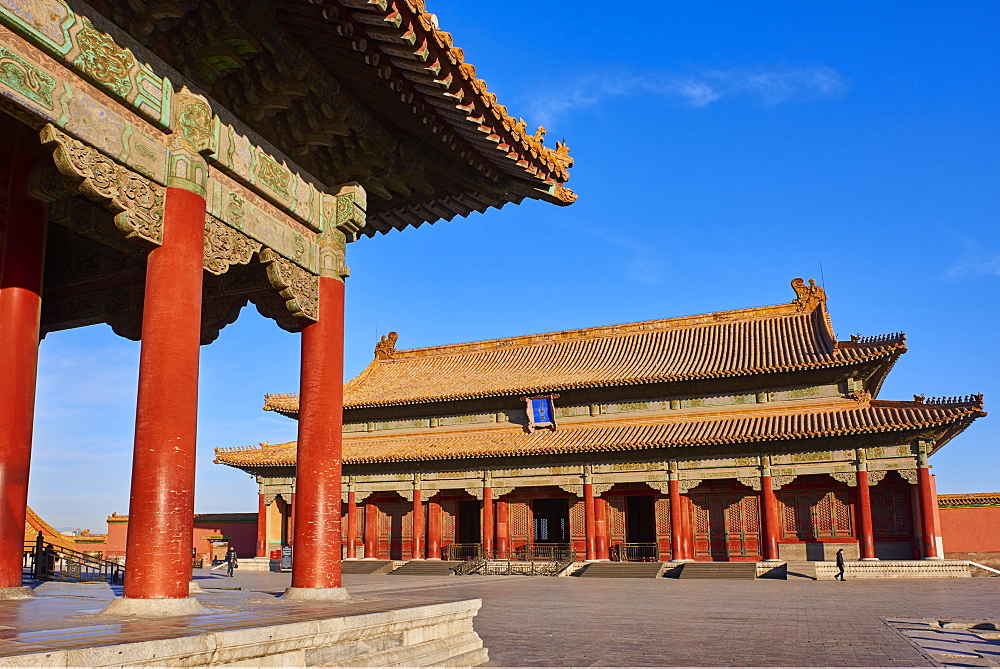 Hall of Preserving Harmony (in the background) with Hall of Central Harmony, Forbidden City, Beijing, China, East Asia