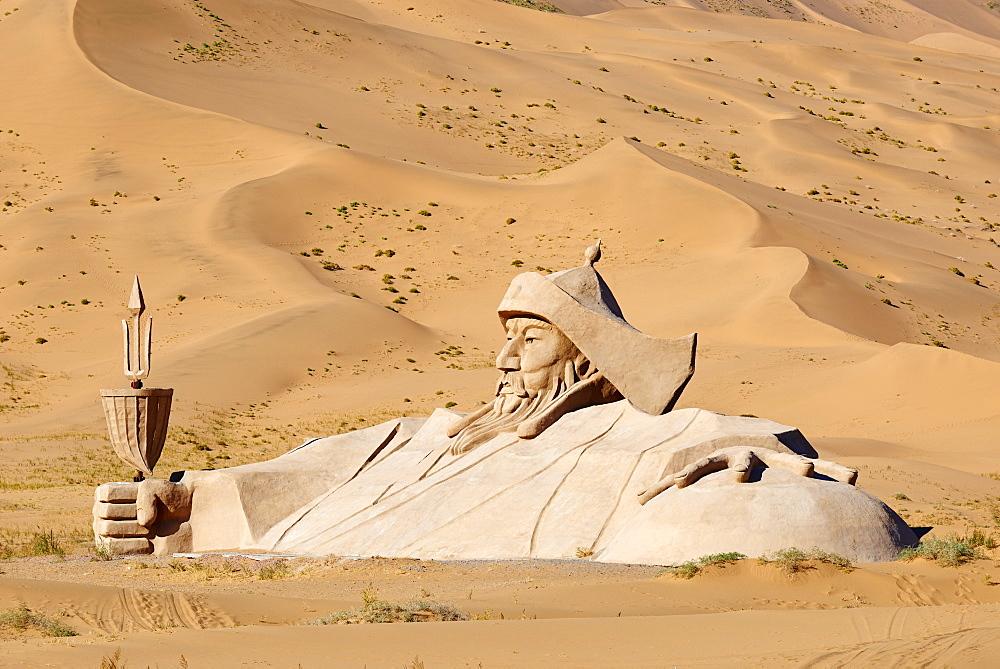 Statue of Gengis, Mongol emperor, Badain Jaran Desert, Gobi Desert, Inner Mongolia, China, Asia