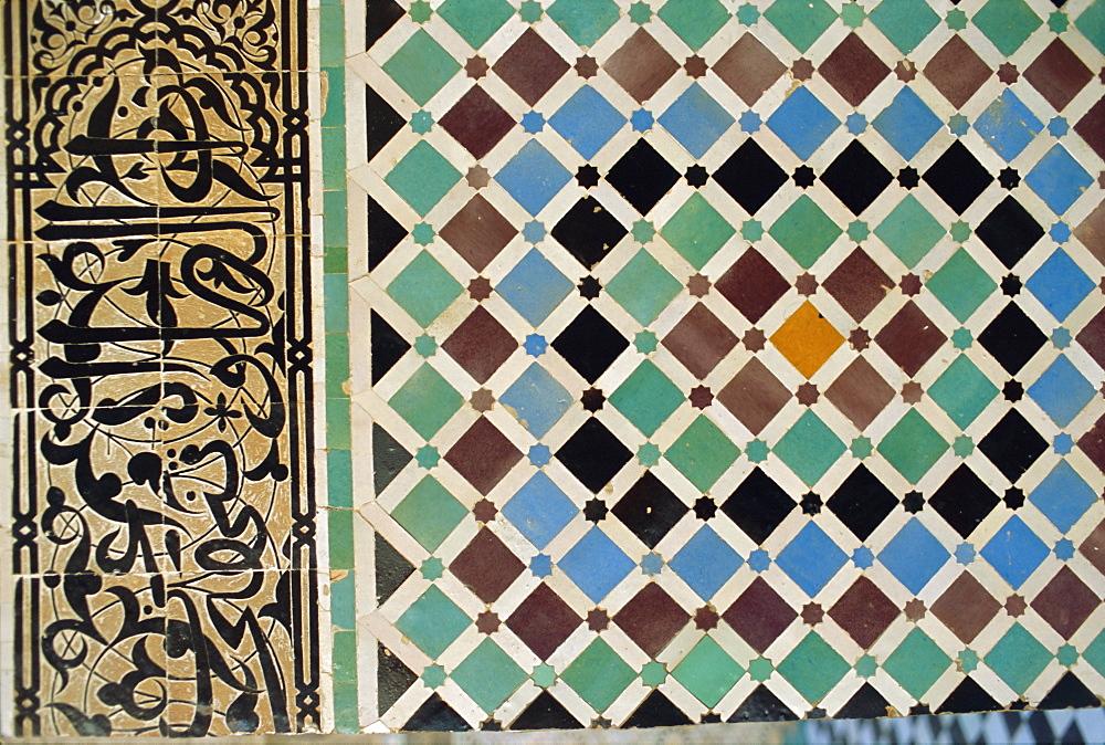Tile detail, Attarine Medressa, Fez, Morocco, North Africa