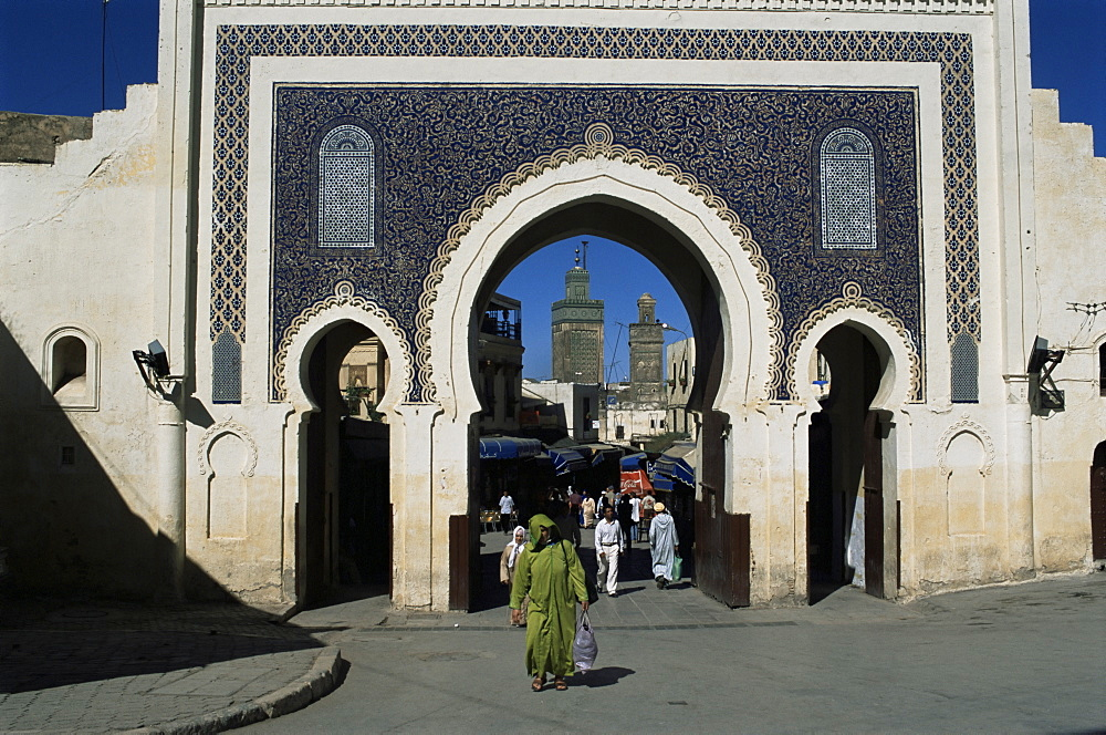 Bab Bou Jeloud, Fes el Bali, Fez, Morocco, North Africa, Africa