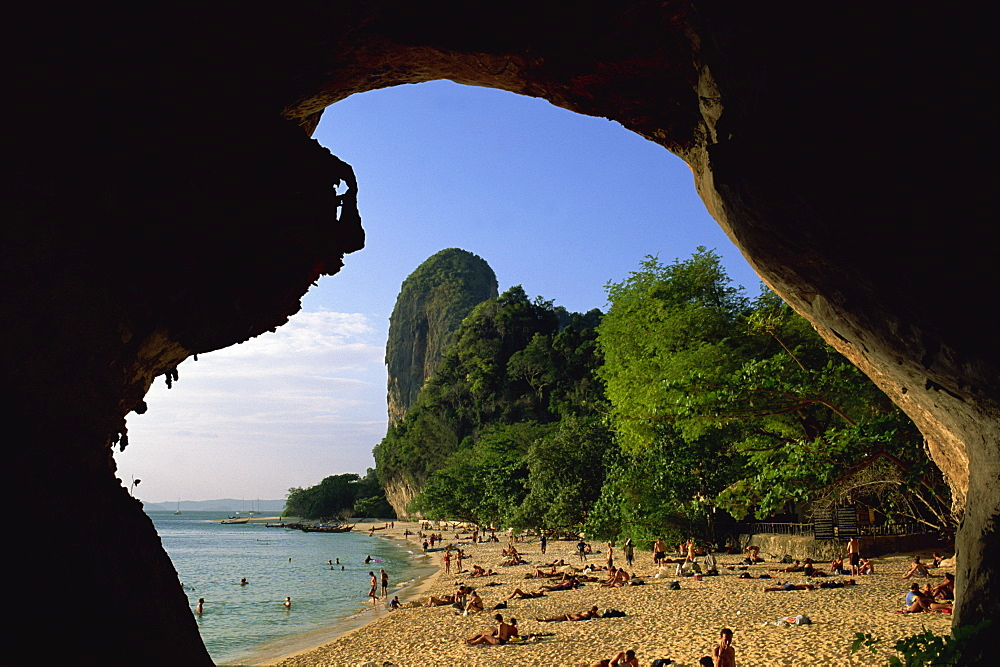 View from cave entrance of the beach and coast, Ao Phra Nang, Province of Krabi, Thailand, Southeast Asia, Asia