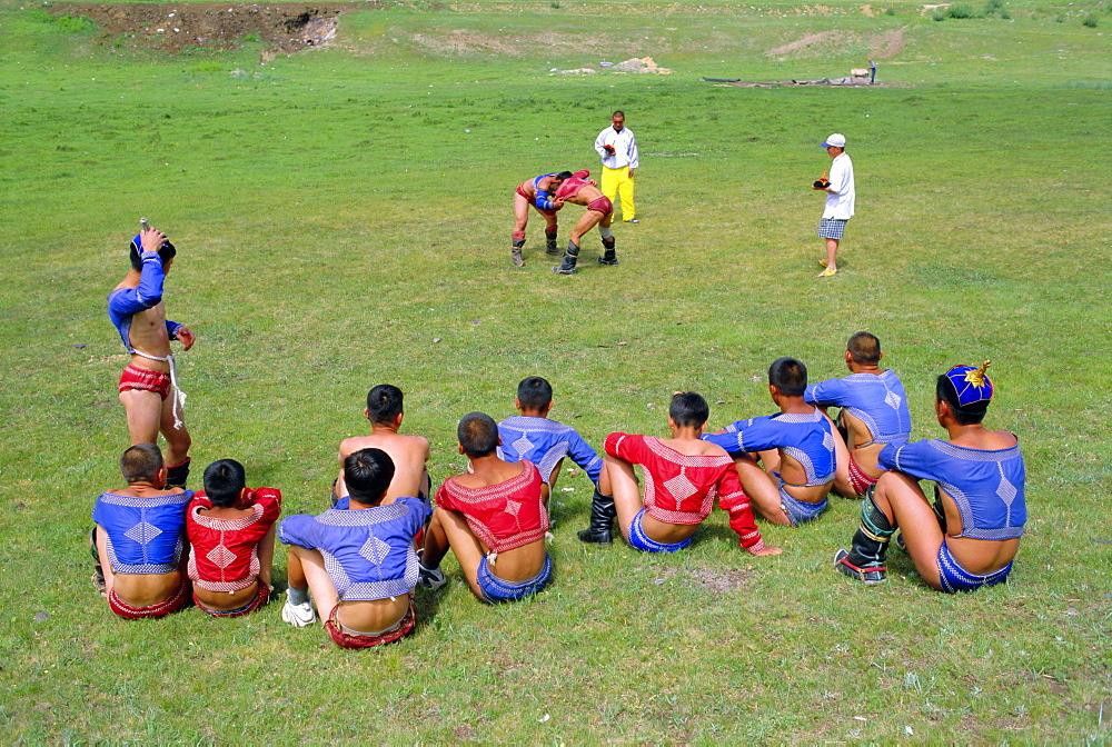 Mongolian wrestling school, near Ulan Bator, Mongolia