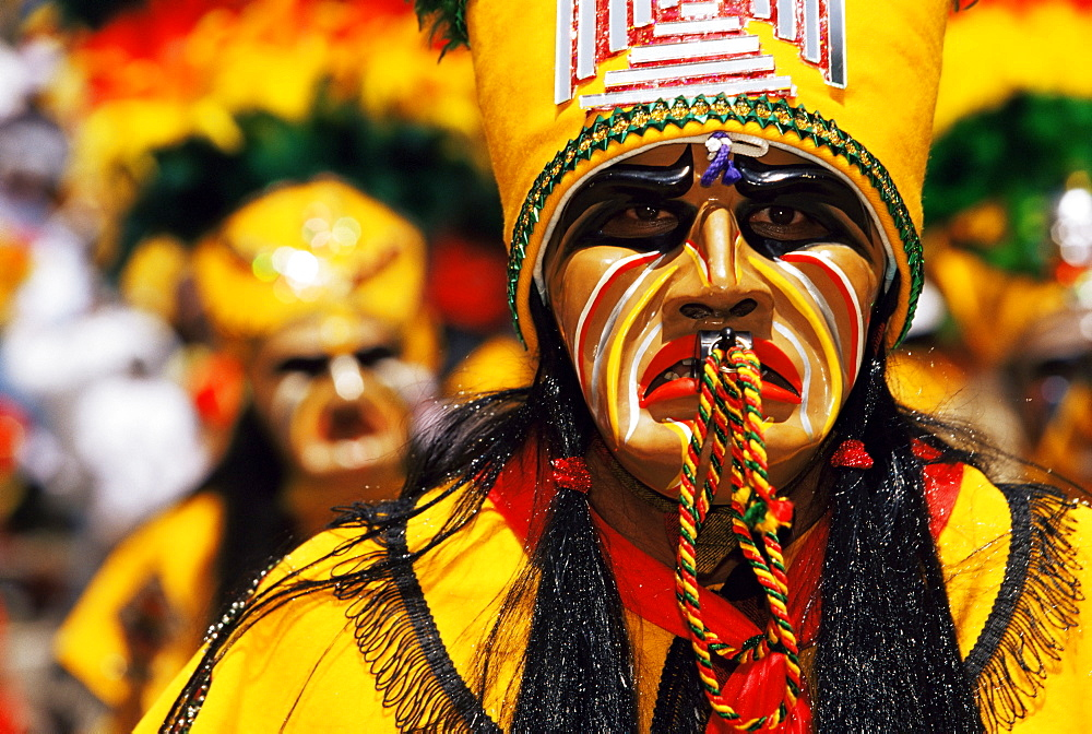 Portrait of a Tobas warrior during carnival called The Devil Dance (La Diablada), Oruro, Bolivia, South America