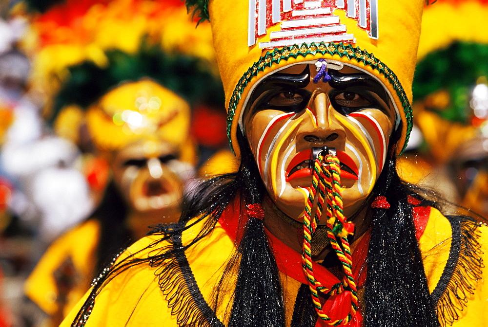 Portrait of a Tobas warrior during carnival called The Devil Dance (La Diablada), Oruro, Bolivia, South America - 718-1031