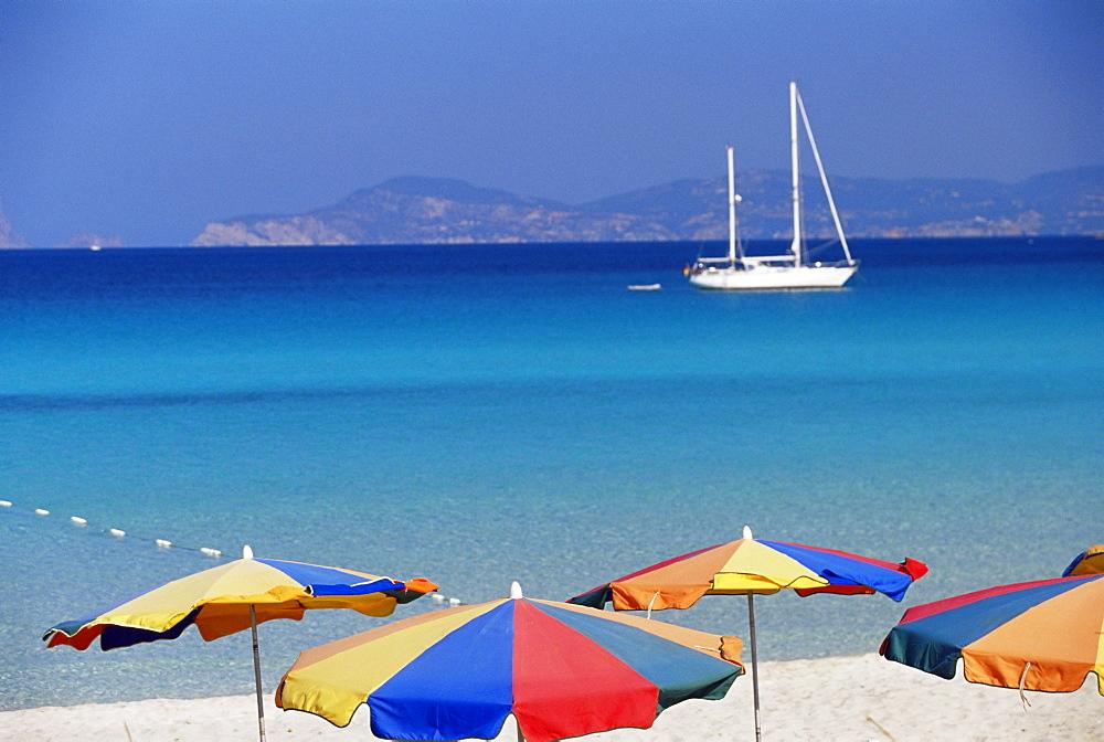Colourful umbrellas on Playa de ses Illetes beach, Formentera, Balearic Islands, Spain, Mediterranean, Europe