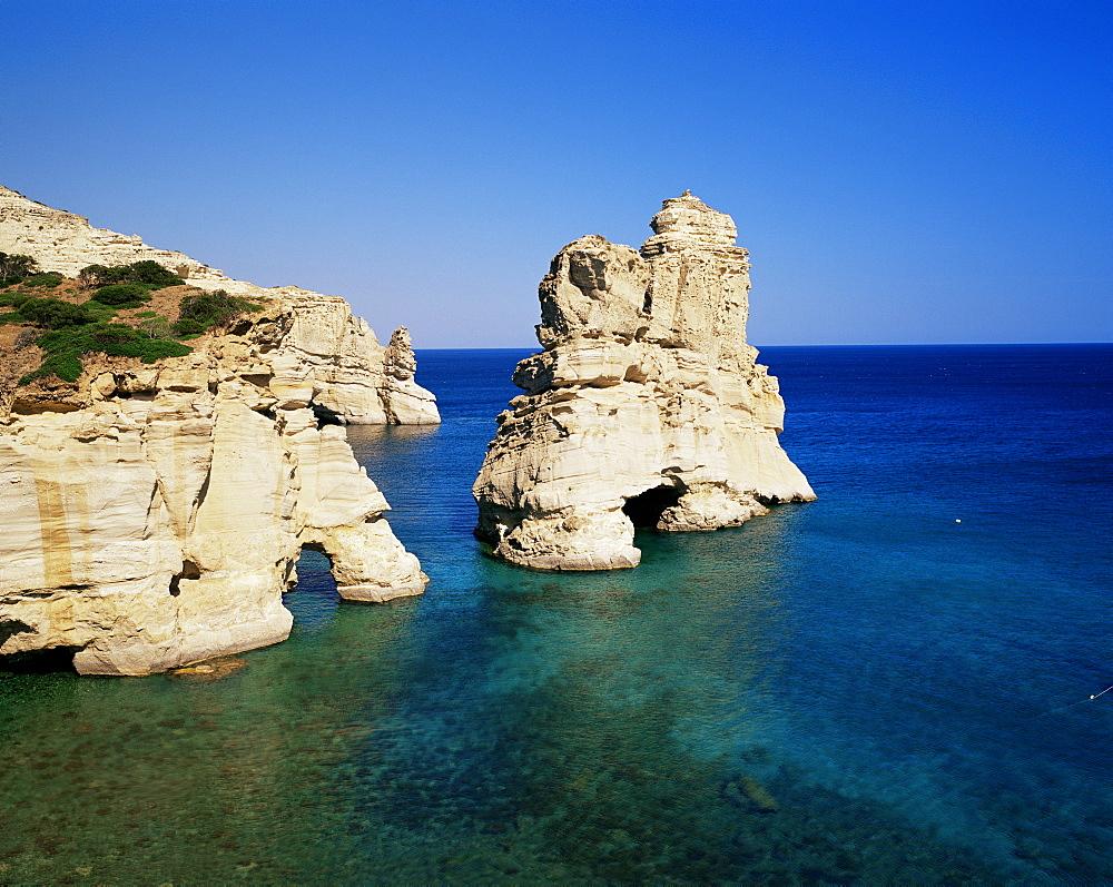 Volcanic rock formations, Kleftiko, island of Milos, Cyclades, Greek Islands, Greece, Europe