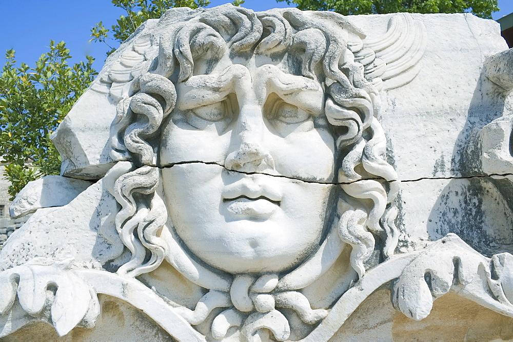 Close-up of Medusa head, Temple of Apollo, Didyma, Anatolia, Turkey, Asia Minor, Eurasia